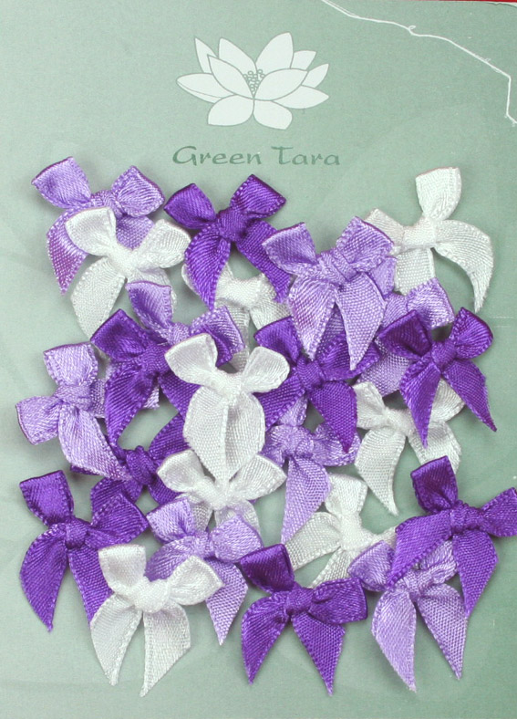 Pack of assorted 2cm Bows Purple/Lavender/White