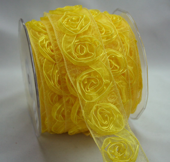 38mm Organza Rosette Yellow 10m Roll