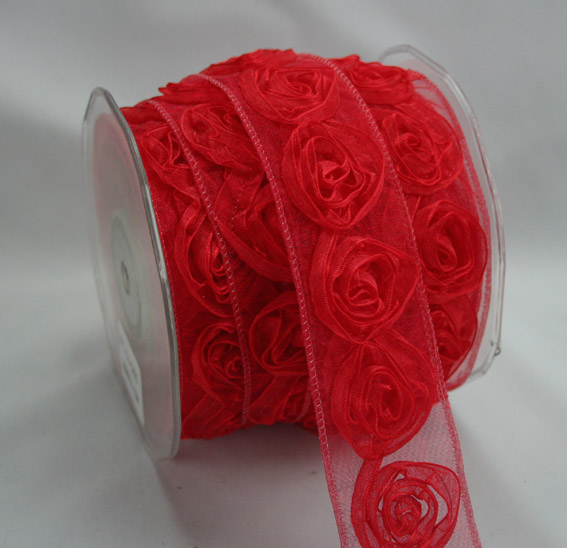 38mm Organza Rosette Red 10m Roll