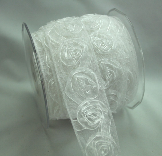 38mm Organza Rosette White 10m Roll