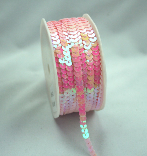 6mm Opal Sequin Trim  Pink Opal 20m