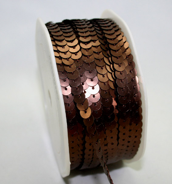 6mm Brushed Sequin Trim Bronze 20m