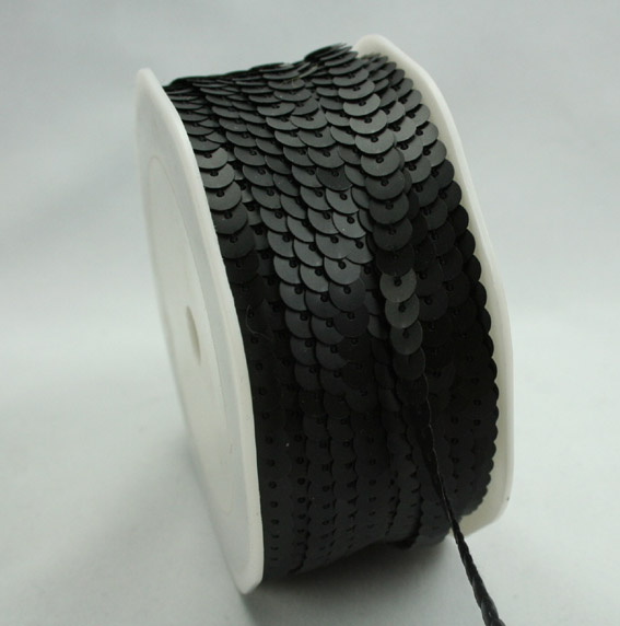 6mm Brushed Sequin Trim Black 20m