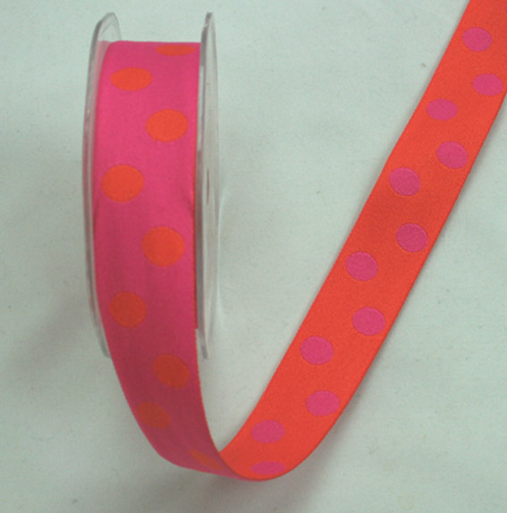 25mm Double Sided Reversible Spot Hot Pink/Orange 10m Roll