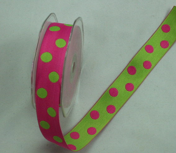 25mm Double Sided Reversible Spot Hot Pink/Lime Green 10m Roll