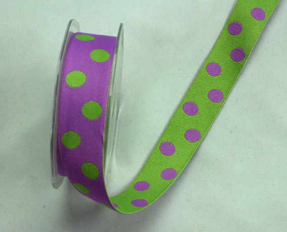 25mm Double Sided Reversible Spot Lime Green/ Purple 10m Roll