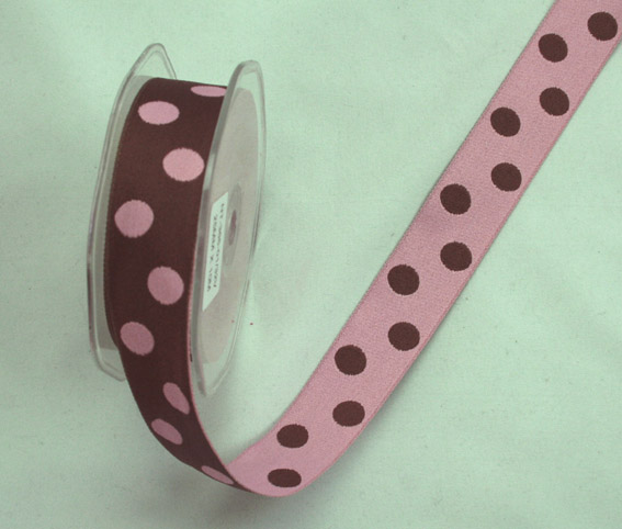 25mm Double Sided Reversible Spot Dark Brown Pink 10m Roll