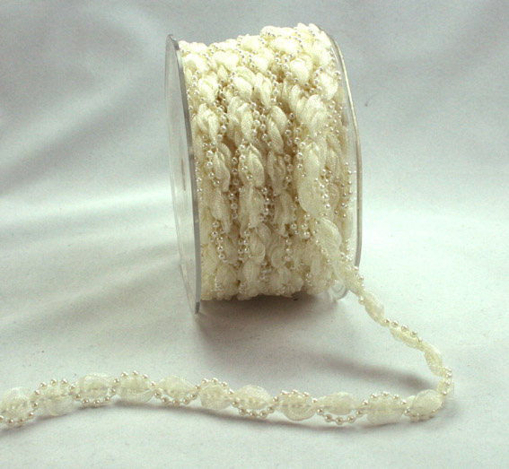 9mm Twisted Organza Pearl  Ivory 20m Roll