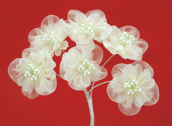 Organza Pearl Flowers 3cm Ivory. Bulk pack of 72