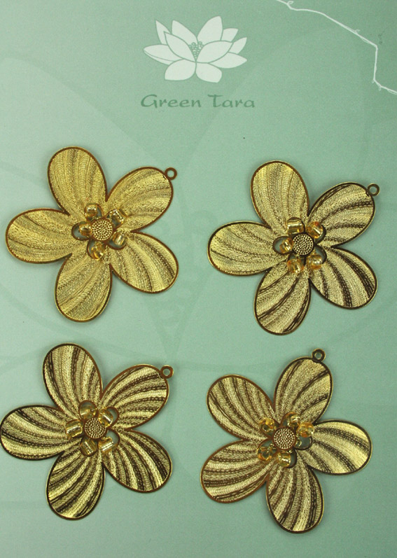 Metal Bead Flowers 5cm Gold