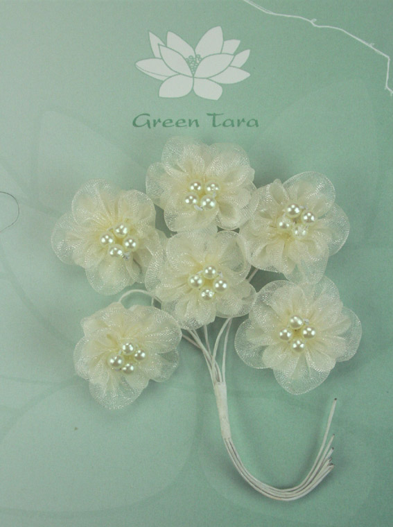 Organza Pearl Flowers 3cm Ivory. Pack of 6