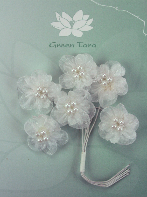 Organza Pearl Flowers 3cm White. Pack of 6