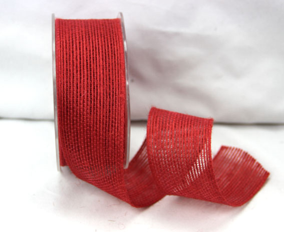 38mm Natural Jute Ribbon 10m Red
