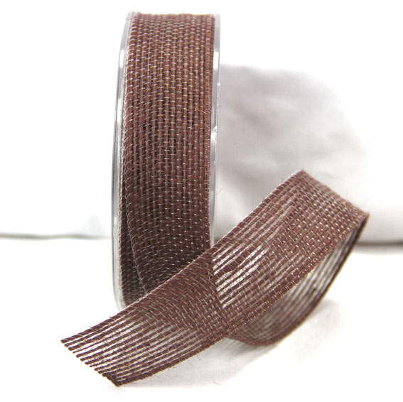 25mm Natural Jute Ribbon 10m  Dark Brown
