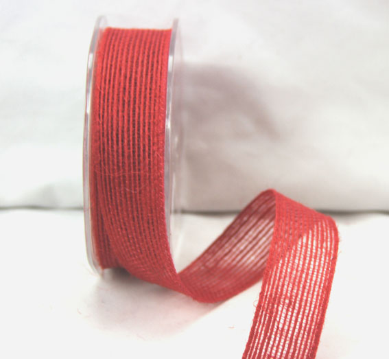 25mm Natural Jute Ribbon 10m Red