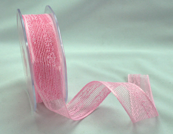 25mm Coloured Jute Ribbon Pale Pink 10m