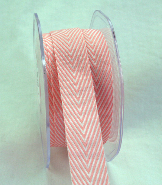 20mm Herringbone Peachy Pink 20m roll