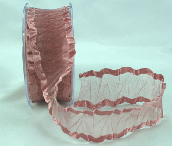 38mm Crinkle Satin Edged Organza Dusky Pink 10m roll