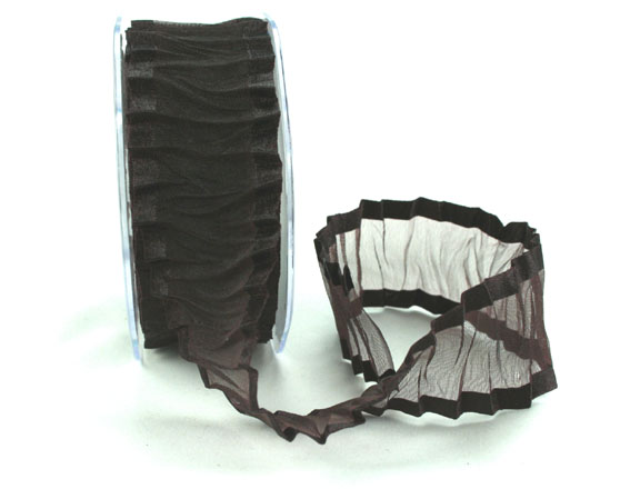 38mm Crinkle Satin Edged Organza Dark Chocolate 10m roll