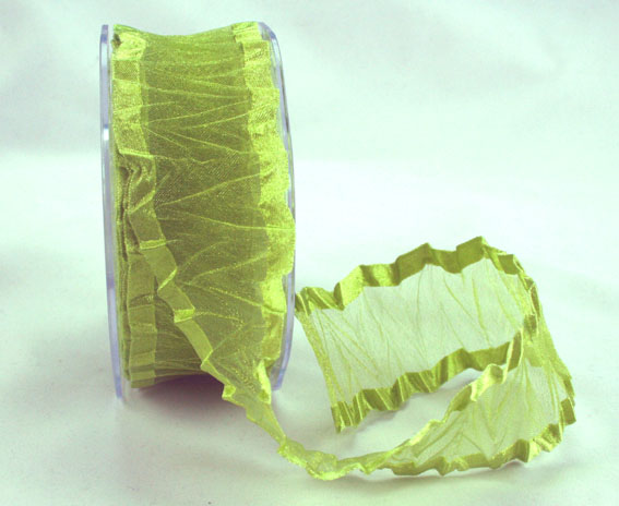 38mm Crinkle Satin Edged Organza Lime 10m roll
