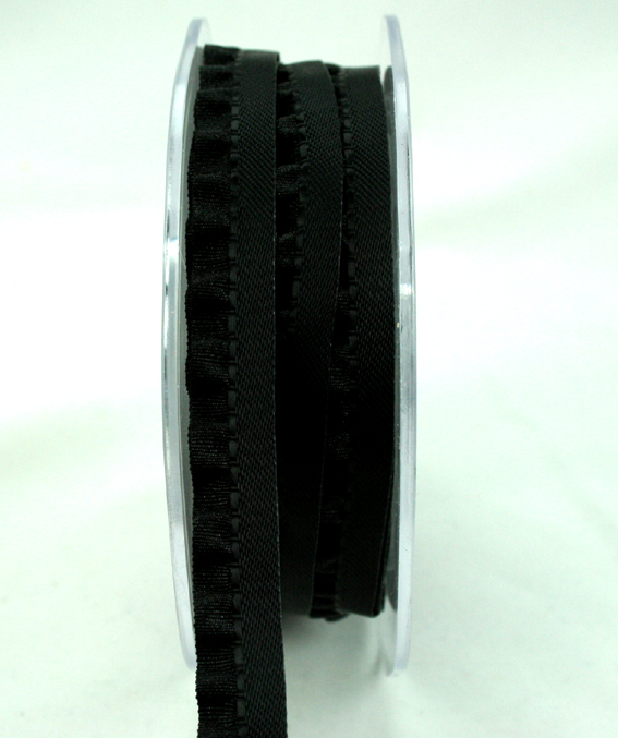 10mm Satin Single Frill Black 10m roll