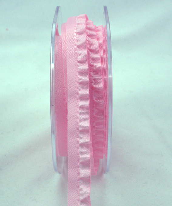 10mm Satin Single Frill Pale Pink 10m roll