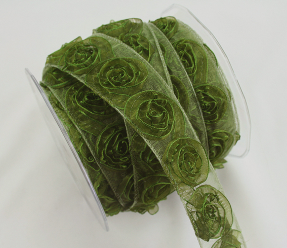 38mm Organza Rosette Olive 10m Roll