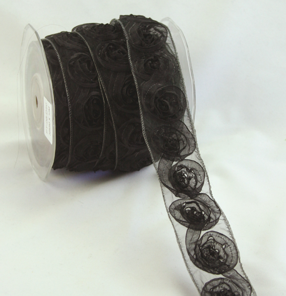 38mm Organza Rosette Black 10m Roll