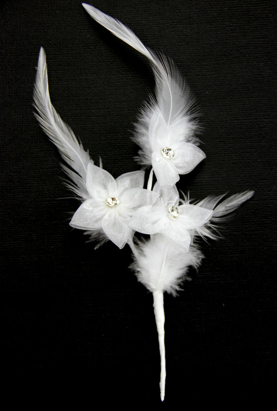 23cm Silk Diamante with Feather Spray White 12 Pcs