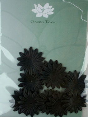 4cm Petals. Black. Pack of 10