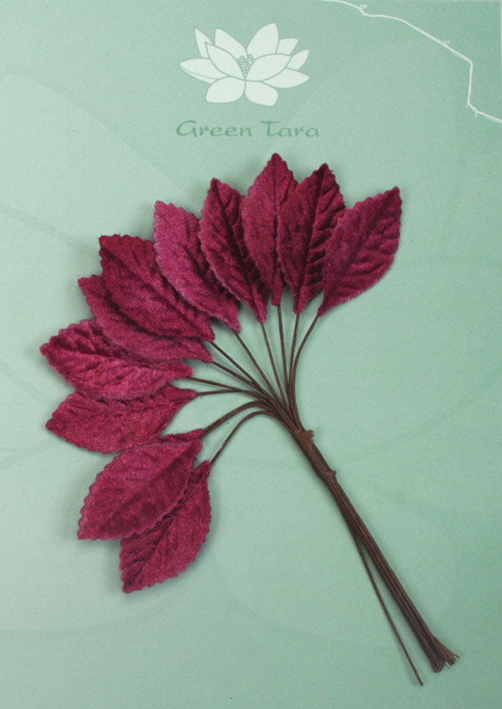 Velvet Leaves 3cm Burgundy