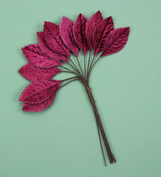 **NEW** Velvet Leaves 3cm Burgundy