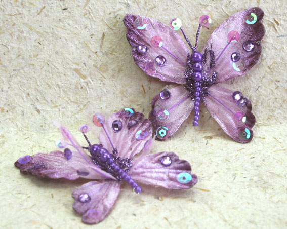 **NEW** 10 Rain Forest Velvet and Organza Butterfly 7cm Lavender