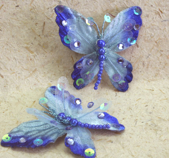 10 Rain Forest Velvet and Organza Butterfly 7cm Blue