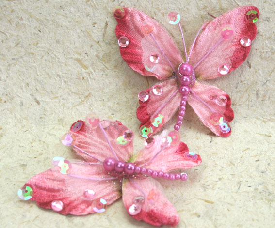 **NEW** 10 Rain Forest Velvet and Organza Butterfly 7cm Pink