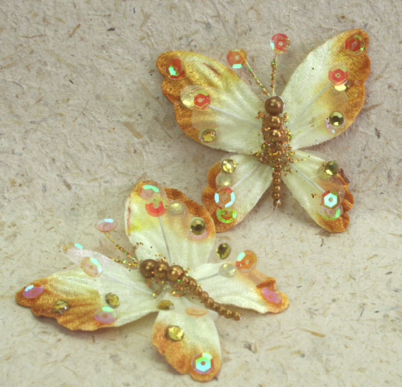 **NEW** 10 Rain Forest Velvet and Organza Butterfly 7cm Bronze