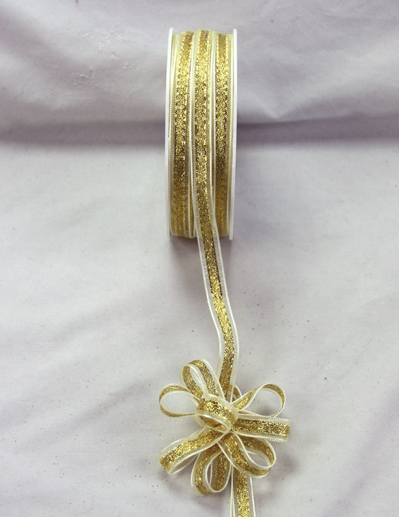 9mm Pull Bow Ribbon 25m, Ivory/Gold