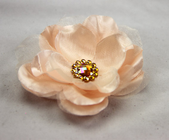 Wild Rose 7cm Silk and Organza Flower 12 pcs Peach
