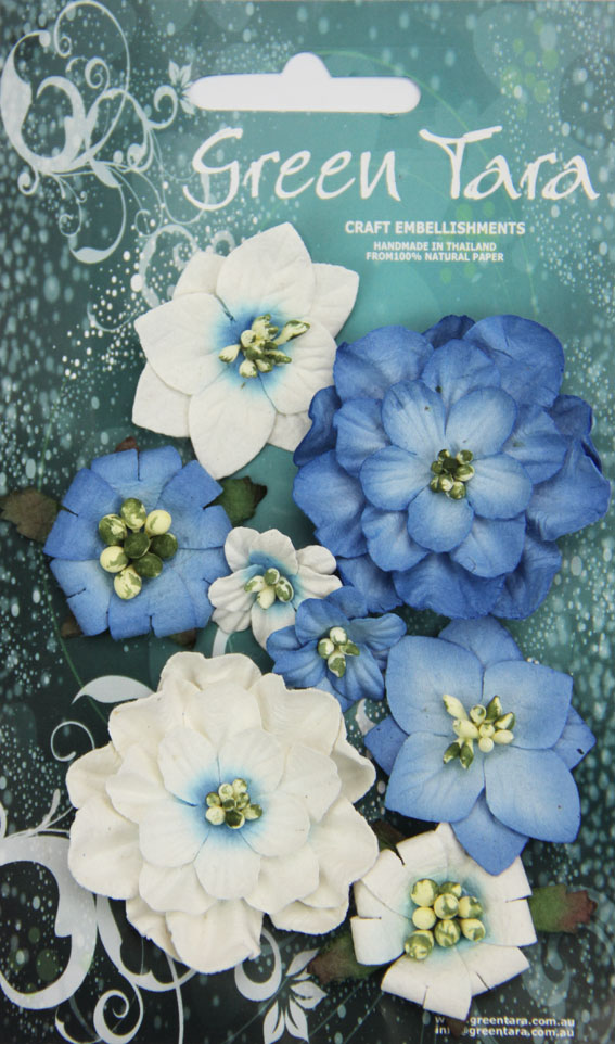 Fantasy Blooms - Pack of 8 Co-ordinated Flowers, BRIGHT BLUE