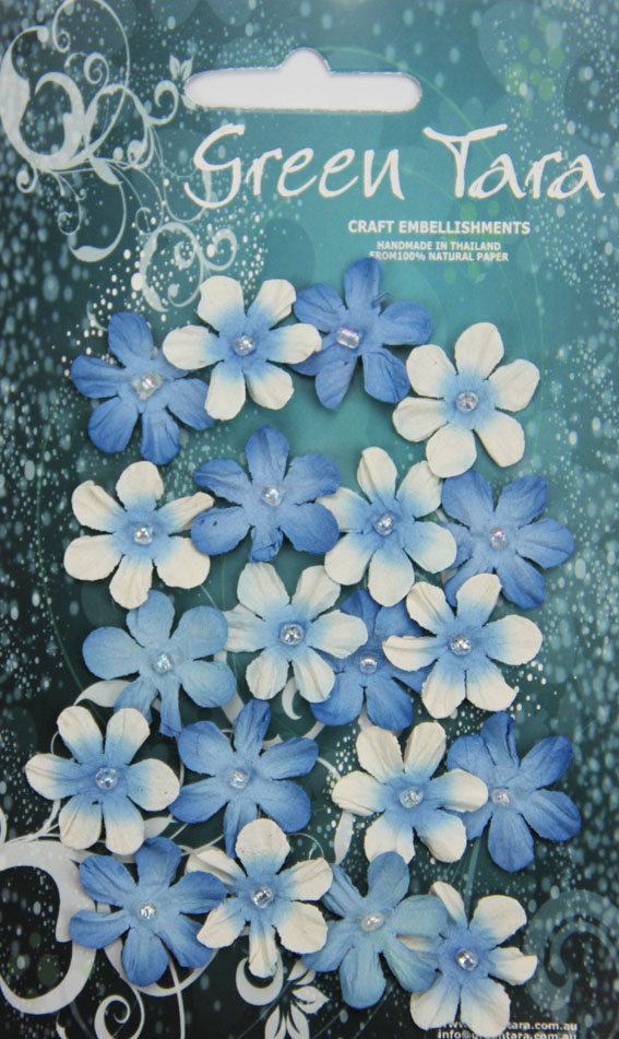 Pack 20 Mini Flowers, Bright Blue 22mm
