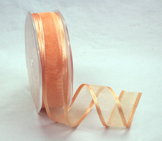 23mm Satin Edged Organza Peach 25m