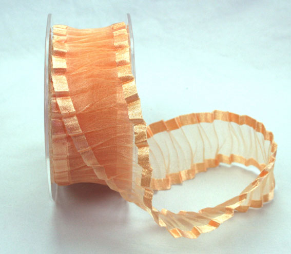 38mm Crinkle Satin Edged Organza Peach 10m roll