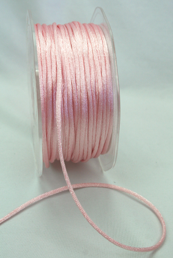 2mm Satin Rat Tail Cord 50m roll Pale Pink