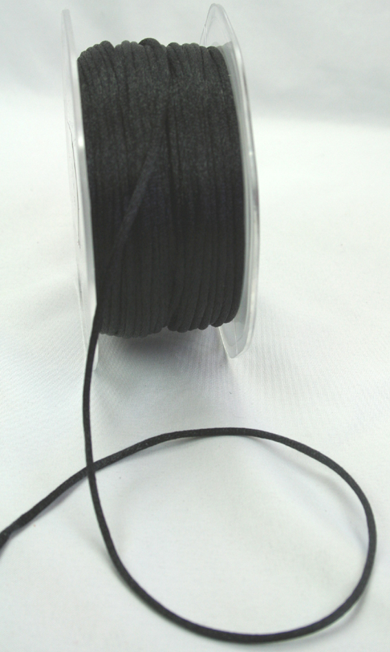 2mm Satin Rat Tail Cord 50m roll Black