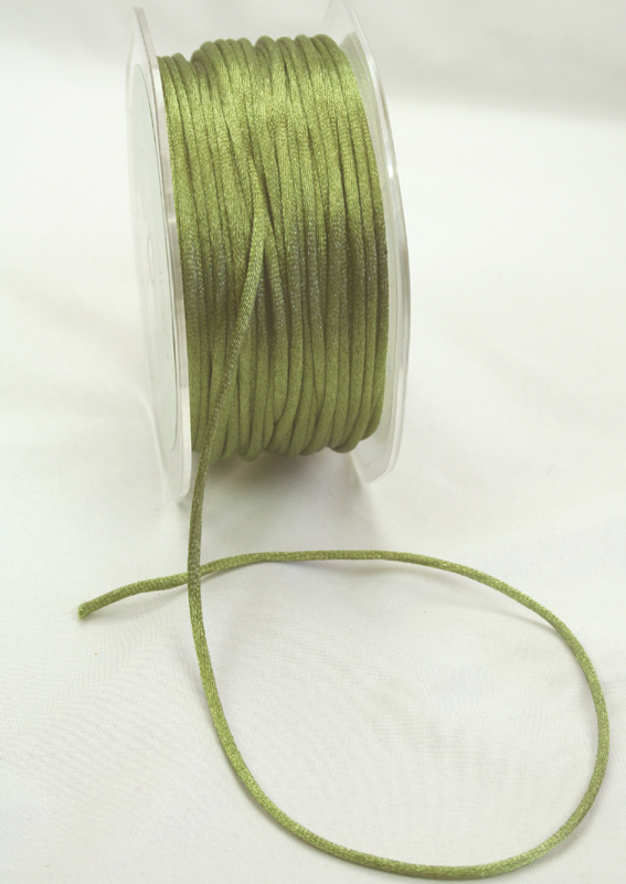 2mm Satin Rat Tail Cord 50m roll Olive