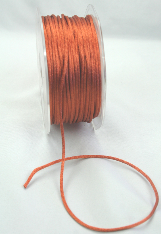 2mm Satin Rat Tail Cord 50m roll Burnt Orange