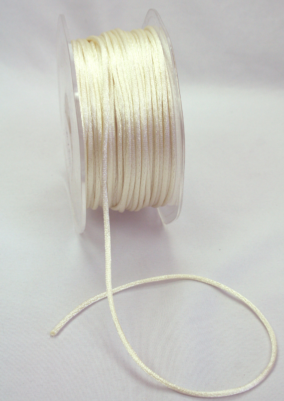 2mm Satin Rat Tail Cord 50m roll Ivory