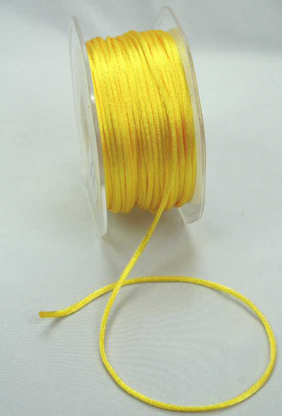 2mm Satin Rat Tail Cord 50m roll Yellow