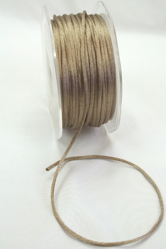 2mm Satin Rat Tail Cord 50m roll Mushroom