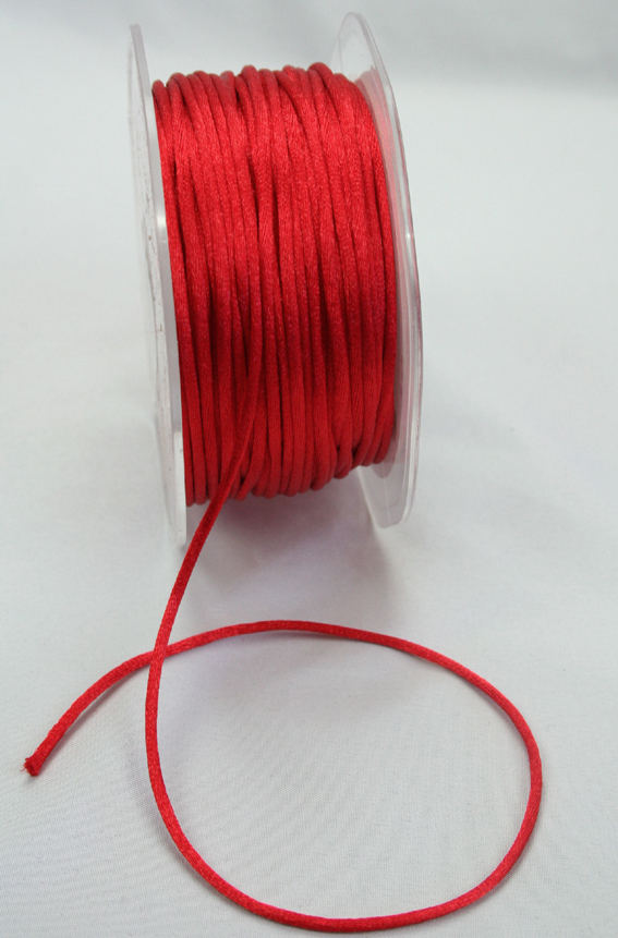 2mm Satin Rat Tail Cord 50m roll Red